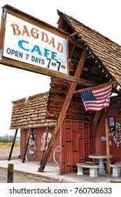 Bagdad, California, USA - Oct 29, 2015: The Bagdad Cafe from the 1960s along Route 66 in the Mojave Desert that was made famous upon the release of the 1987 German film under the same name.