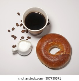bagel with coffee and milk