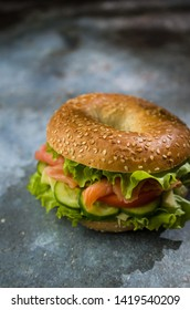 Bagel with fresh salmon and vegetables