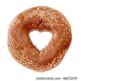 Bagel with a heart center