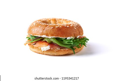bagel with salmon and cream cheese isolated on white background