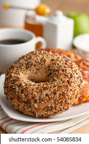 Bagel with Seeds in Breakfast Setting
