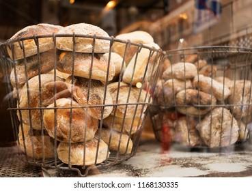 Bagels in bakery