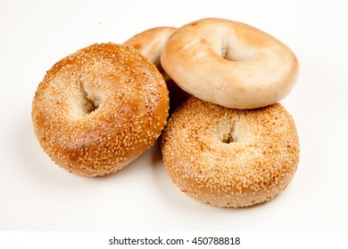 Bagels on white background