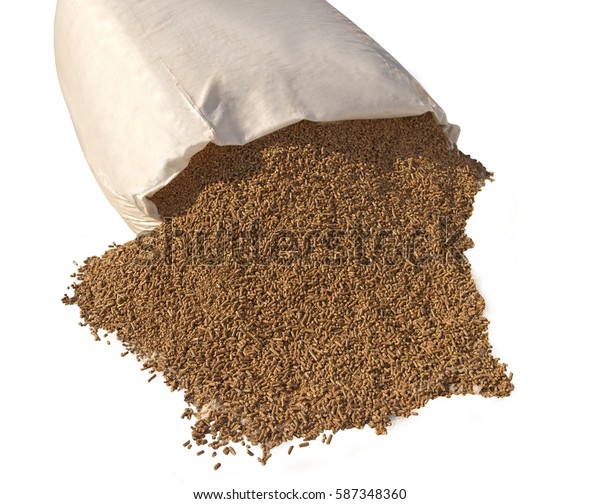 Bagful of pellets isolated on white