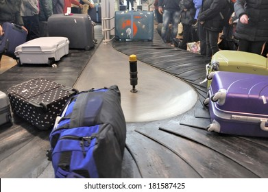 Baggage Claim. Airport Baggage belt with moving luggage in sharp colors