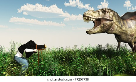 Baggy pants photographer with a old fashion view camera, his head under the dark cloth photographs a tyrannosaurus rex outdoors before a bright blue sky with puffy clouds. Illustration