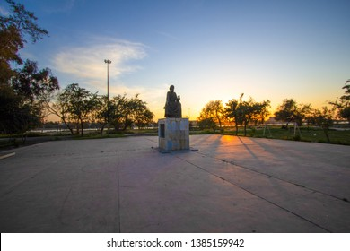 Baghdad, Iraq – April 11, 2019: photo for Statue of the Arab poet Abu Nawas in Baghdad city in Iraq,  It was established in 1972 and was designed by the sculptor Ismail Fattah Turk.