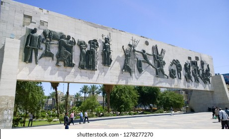 Baghdad, Iraq – April 2, 2016:  picture for Monument of Liberty in Baghdad in Iraq, Designed by sculptor Mohammed Jawad Salim, and its located in center of Baghdad city.