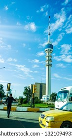 Baghdad, Iraq – April 6, 2014: Baghdad tower is the long tower in Baghdad , previously called International Saddam Tower, it have tall a 205 m, opened in 1994 and man of police to Organization of traf