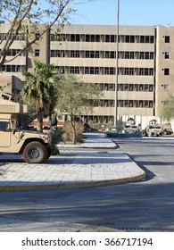 BAGHDAD, IRAQ - AUGUST 12, 2007: Forward Operating Base in the center of the city, incorporating existing city buildings