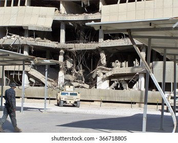 BAGHDAD, IRAQ - AUGUST 12, 2007: Major blast damage to a building in a Forward Operating Base