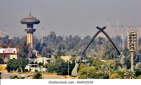 BAGHDAD, IRAQ - CIRCA JANUARY 2011: Overhead view of the Green Zone with the Crossed Swords Monument, in dusty conditions