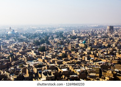 Baghdad, Iraq – December 25, 2018:Aerial photographs of the city of Baghdad ,And shows where residential complexes and Mosque of Sheikh Maarouf Karkhi.