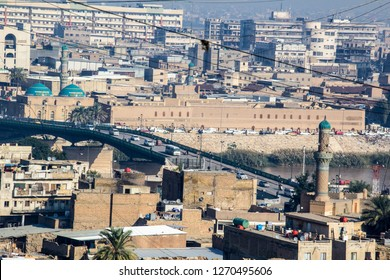 Baghdad, Iraq – December 25, 2018:Aerial photographs of the city of Baghdad ,And shows where residential complexes and Martyrs Bridge. The city of Baghdad,