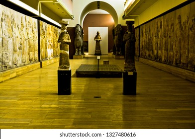 Baghdad, Iraq – February 24, 2019 : photo for The Iraqi Museum in Baghdad city in Iraq , and showing many of Assyrian statues and Winged bulls .