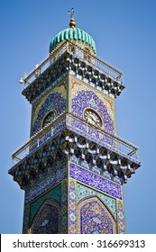 Baghdad, Iraq -  May 19, 2014:  Lighthouse clock tower in shrine Musa alKadhim and his grandson Mohammed Jawad,in Baghdad, Iraq