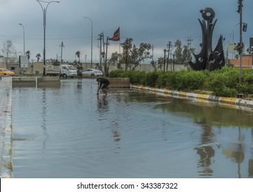 Baghdad, Iraq - October 29, 2015: After rain in Baghdad city in Iraq
