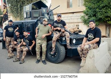 Baghdad, Iraq - October 9,2019  A Squad Of Iraqi Militia during their duty