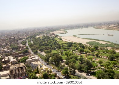 Baghdad, Iraq â?? September 16, 2015: Aerial photo of the city of Baghdad, Iraq