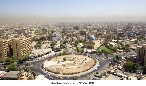 Baghdad, Iraq â?? September 21, 2015: Aerial photo of the city of Baghdad, Iraq