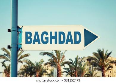 Baghdad Road Sign