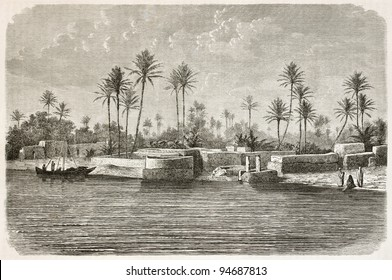 Baghdad surroundings along Tigris river. Created by De Bar after photo of unknown author, published on Le Tour du Monde, Paris, 1867