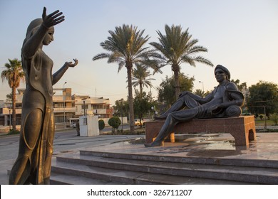 Baghdad,Iraq - April 6, 2014: statue king sharyar and his concubine sharzad in Baghdad