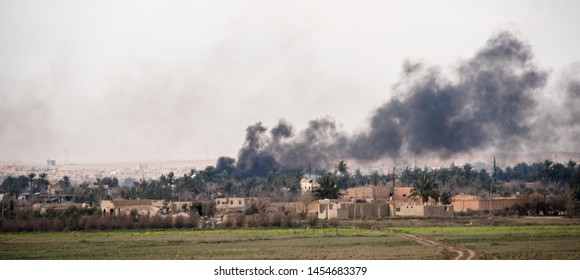 Baghouz, North east Syria, March, 15, 2019. Coalition airstrikes, on the last stronghold of Islamic State. During the Syrian democratic forces operation