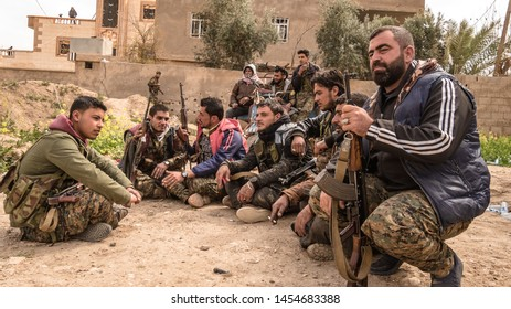 Baghouz, North east Syria, March, 15, 2019. Fighters from Raqqa belonging to the SDF Syrian Democratic Forces getting ready for the fight aganist IS.