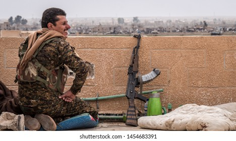 Baghouz, North east Syria, March, 15, 2019. Fighters form the SDF Syrian Democratic Forces in his position on the last fight aganist IS.