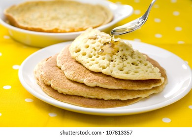 Baghrirs with honey,pancakes with 1000 holes