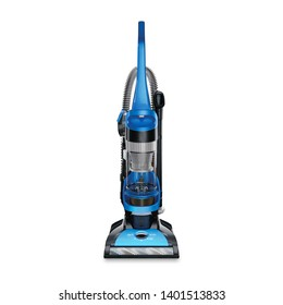 Bagless Upright Vacuum Cleaner Isolated on White Background. Black and Blue Hoover. House Cleaning Equipment Tool. Electric Domestic Major Appliances. Household and Home Appliance