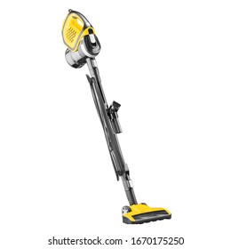 Bagless Upright Wand Stick Vacuum Cleaner Isolated on White. Black & Yellow Hoover. House Cleaning Equipment Tool. Electric Domestic Major Appliances. Household and Home Appliance