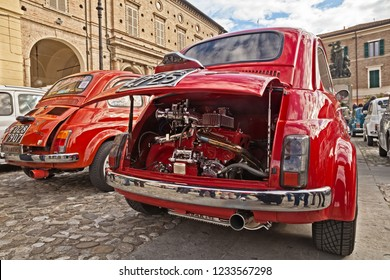 Bagnacavallo, RA, Italy - November 11, 2018: Vintage Italian car Fiat 500 with tuning chromed engine Abarth 595 in 24th Meeting auto vintage