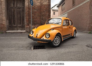 Bagnacavallo, RA, Italy - November 11, 2018: classic German car Volkswagen Type 1 (Beetle) traveling during the 24th Meeting auto vintage