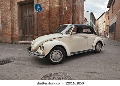 Bagnacavallo, RA, Italy - November 11, 2018: classic German car Volkswagen Type 1 (Beetle) Cabriolet traveling during the 24th Meeting auto vintage