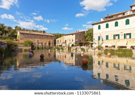 Bagno vignoni squrico tuscany italy september stock photo edit