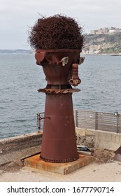 Bagnoli, Campania, Italy - February 24, 2020: Sculpture made in 1998 by the Neapolitan artist Giancarlo Neri with materials recovered from the dismantling of the former Italsider steel mill
