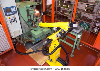 BAGNOLO IN PIANO (RE), ITALY - February 15, 2018 - Italian company specialized in production and trade of electric motors, drives and coaxial gear motors - Industrial Robots, Automation lines.