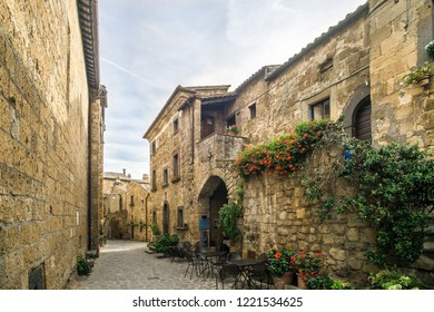 BAGNOREGIO,ITALY - SEPTEMBER 19,2018 - In the streets of Civita di Bagnoregio. Civita di Bagnoregio was founded by Etruscans more than 2,500 years ago.
