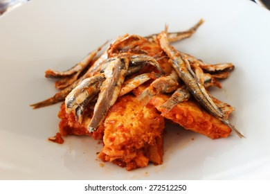 Bagnun - fried anchovies with tomato and bread stew from Sestri Levante, Liguria