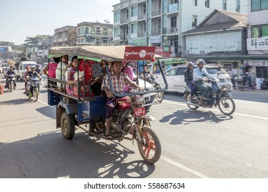 BAGO, MYANMAR - DECEMBER 25, 2017: The downtown of Bago, formerly known as Hanthawaddy, a city and the capital of the Bago Region in Burma. It is located 50 miles (80 km) north-east of Yangon.