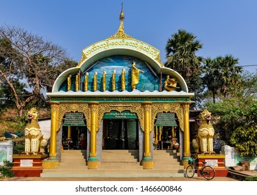 BAGO, MYANMAR - FEBRUARY 23, 2013: Entrance to religious site in the old city of Bago, Myanmar