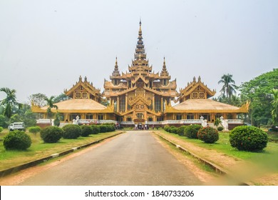 Bago, Myanmar - October 11, 2018 : The Kanbawzathadi Golden Palace is a reconstruction of the original Royal palace, situated in a park. Bago, Bago Region, Myanmar.