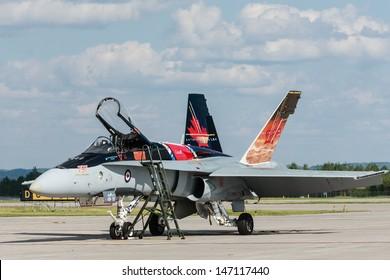 BAGOTVILLE, QUEBEC/CANADA  - JUNE 22: Bagotville Airshow. The Royal Canadian Air Force (RCAF) CF-18 landed and ready to fly in Bagotville, Quebec, Canada on June 22, 2013.