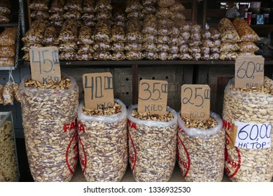Bags of Castanha do Para, a Brazilian nut, typical nuts of Belem do Para - for sale in the market halls of Belem