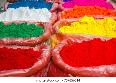 Bags of color for Holi, Hindu spring festival of colors on a local market in Kathmandu, Nepal