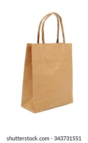 bags with handles made of coarse, yellow paper