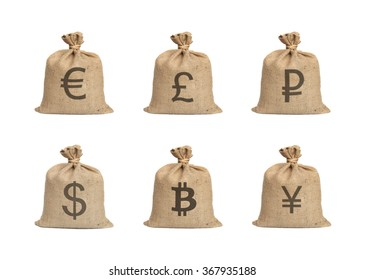 Bags with money isolated on a white background.